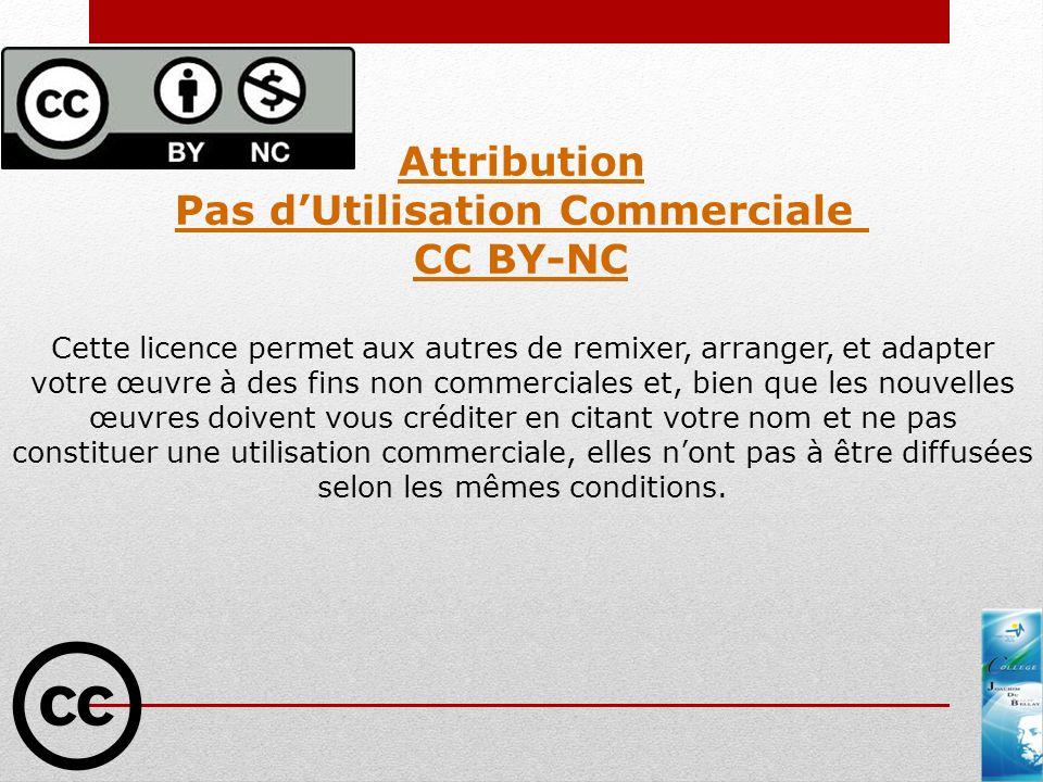 Attribution Pas dUtilisation Commerciale CC BY-NC Cette licence permet aux autres de remixer, arranger, et adapter votre œuvre à des fins non commerci