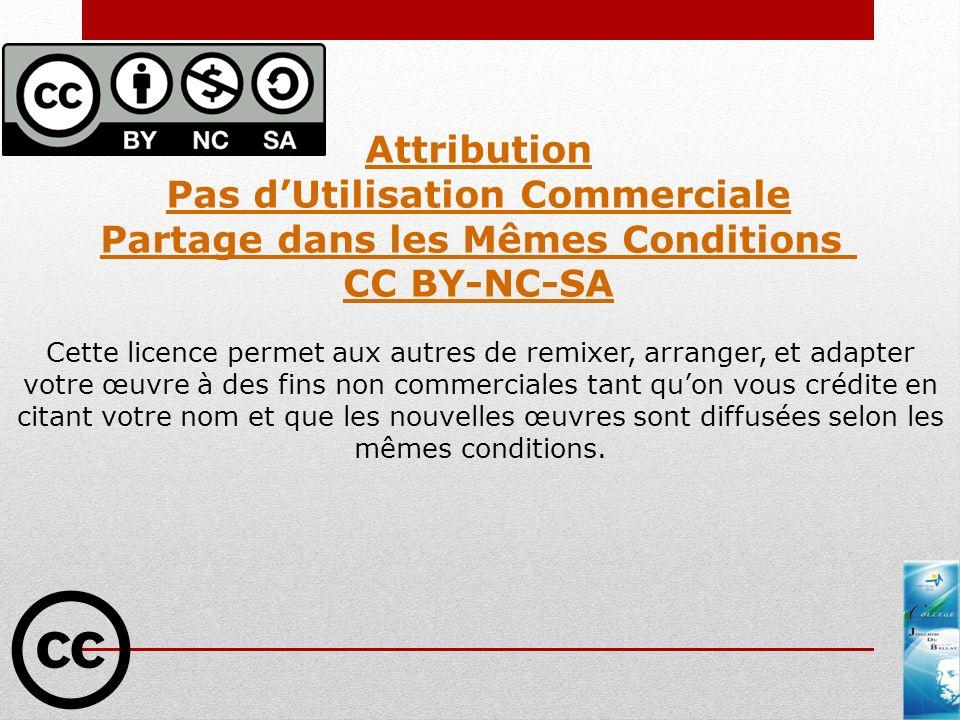 Attribution Pas dUtilisation Commerciale Partage dans les Mêmes Conditions CC BY-NC-SA Cette licence permet aux autres de remixer, arranger, et adapte