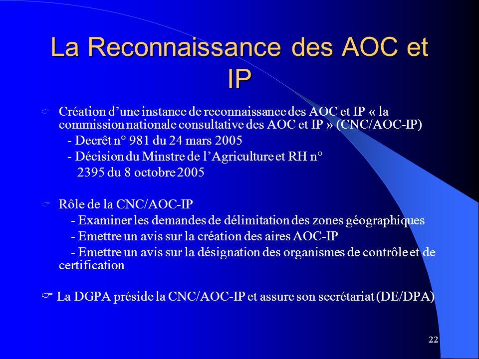 22 La Reconnaissance des AOC et IP Création dune instance de reconnaissance des AOC et IP « la commission nationale consultative des AOC et IP » (CNC/AOC-IP) - Decrêt n° 981 du 24 mars 2005 - Décision du Minstre de lAgriculture et RH n° 2395 du 8 octobre 2005 Rôle de la CNC/AOC-IP - Examiner les demandes de délimitation des zones géographiques - Emettre un avis sur la création des aires AOC-IP - Emettre un avis sur la désignation des organismes de contrôle et de certification La DGPA préside la CNC/AOC-IP et assure son secrétariat (DE/DPA)