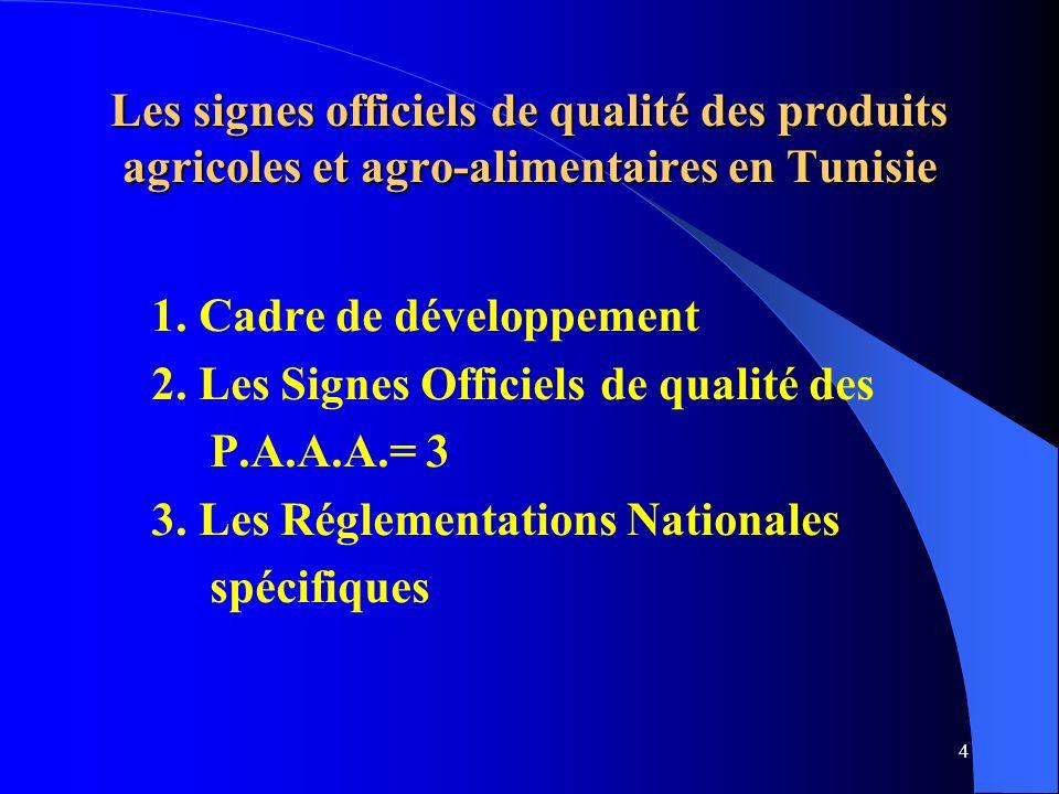 4 Les signes officiels de qualité des produits agricoles et agro-alimentaires en Tunisie 1.