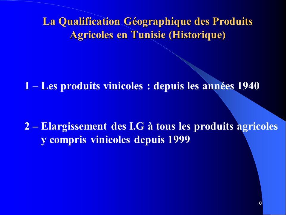 10 1- Les Produits vinicoles La qualification géographique des P.A est relativement ancienne en Tunisie date depuis les années 1940 (décret du 30 juillet 1942) cette réglementation ne concerne que les produits vinicoles 7 AOC relatives aux vins sont crées: Fin des années 1950: 2 AOC :Thibar – Muscat de Kélibia Début des années 1970 : 3 AOC = Mornag – coteaux de tébourba sidi salem Fin des années 1970 : 1 AOC = Grand cru Mornag Début des années 1980 – 1 AOC = coteaux dUtique Chaque AOC est réglemanté par un arrêté du Ministre chargé de lagriculture Ces AOC ont subi plusieurs remaniements et modifications