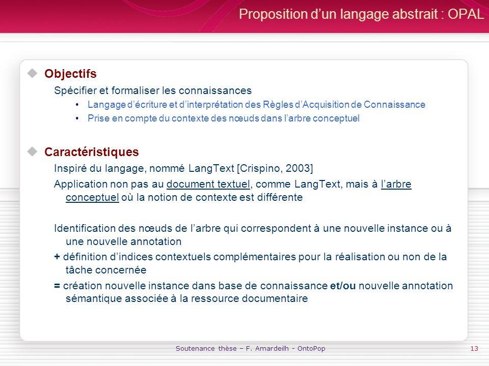 Soutenance thèse – F. Amardeilh - OntoPop13 Proposition dun langage abstrait : OPAL Objectifs Spécifier et formaliser les connaissances Langage décrit