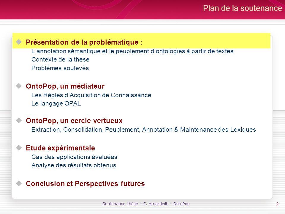 Soutenance thèse – F. Amardeilh - OntoPop2 Plan de la soutenance Présentation de la problématique : Lannotation sémantique et le peuplement dontologie