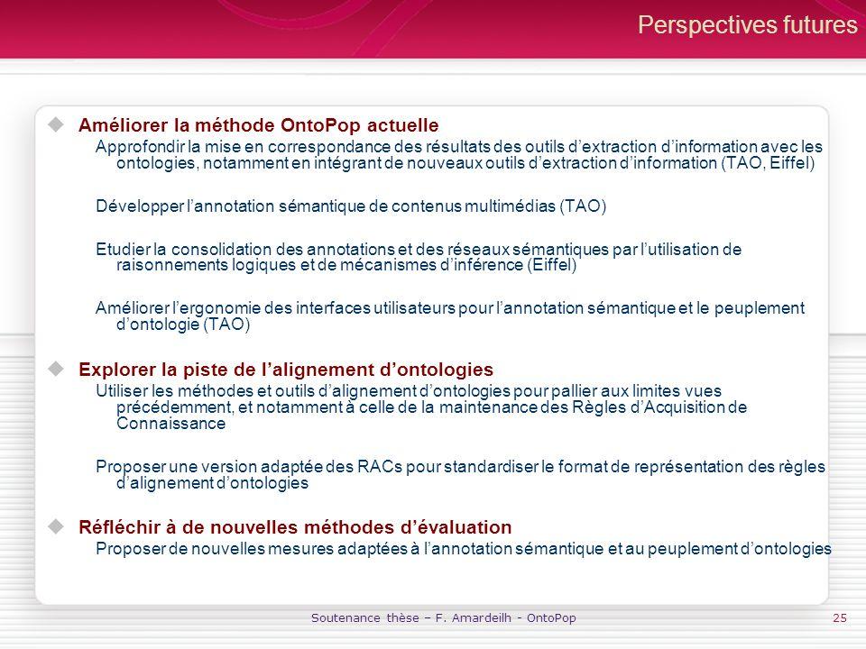 Soutenance thèse – F. Amardeilh - OntoPop25 Perspectives futures Améliorer la méthode OntoPop actuelle Approfondir la mise en correspondance des résul
