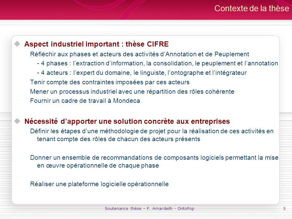 Soutenance thèse – F. Amardeilh - OntoPop5 Contexte de la thèse Aspect industriel important : thèse CIFRE Réfléchir aux phases et acteurs des activité