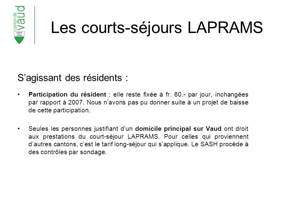 Les courts-séjours LAPRAMS Sagissant des résidents : Participation du résident : elle reste fixée à fr.
