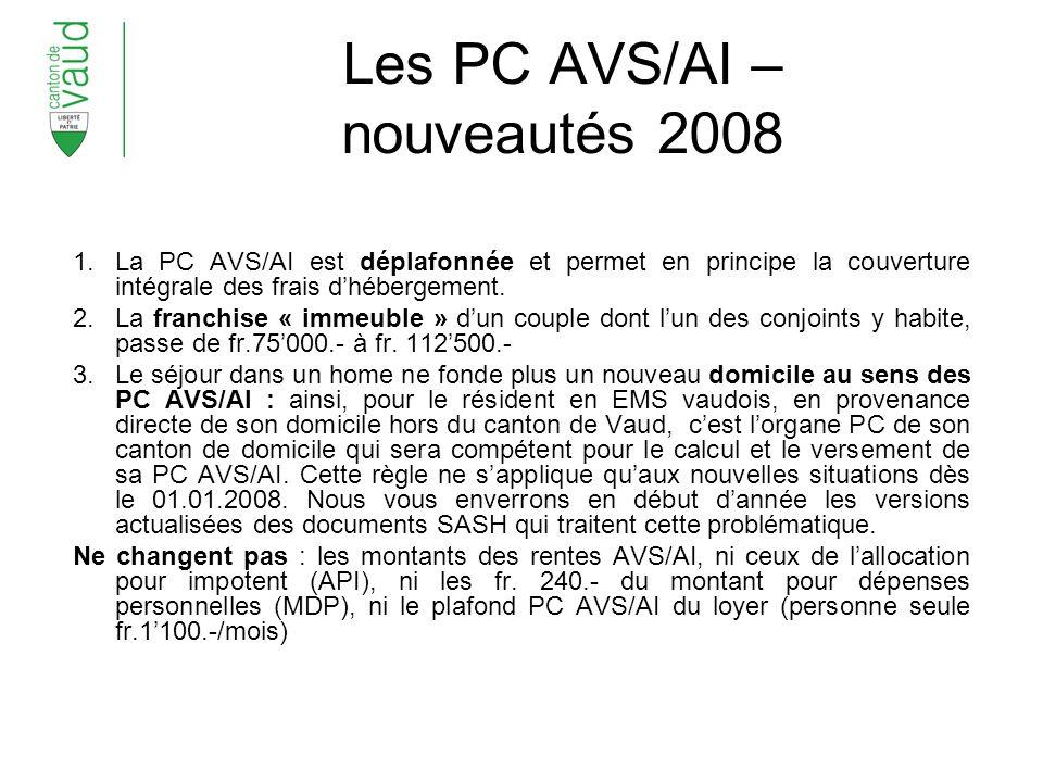 Les PC AVS/AI – nouveautés 2008 1.La PC AVS/AI est déplafonnée et permet en principe la couverture intégrale des frais dhébergement.