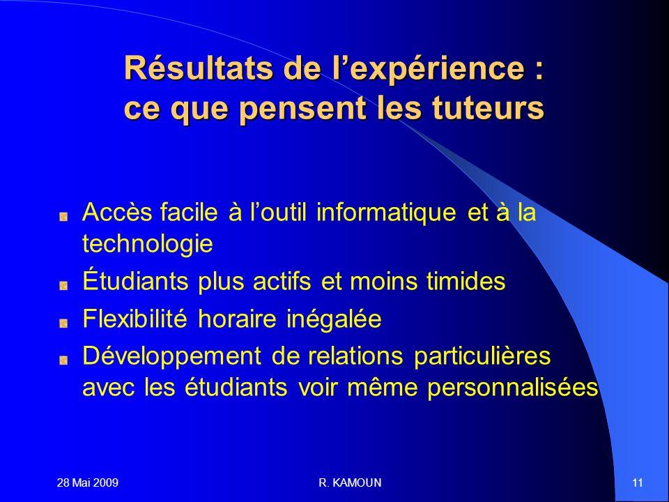 28 Mai 2009R. KAMOUN11 Résultats de lexpérience : ce que pensent les tuteurs Accès facile à loutil informatique et à la technologie Étudiants plus act