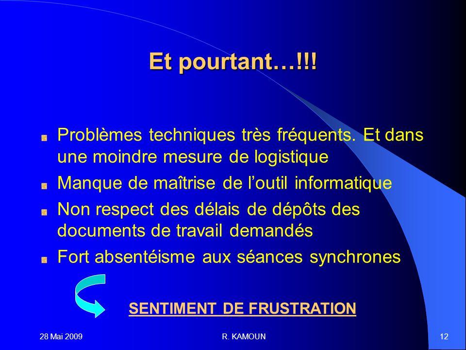 28 Mai 2009R. KAMOUN12 Et pourtant…!!. Problèmes techniques très fréquents.