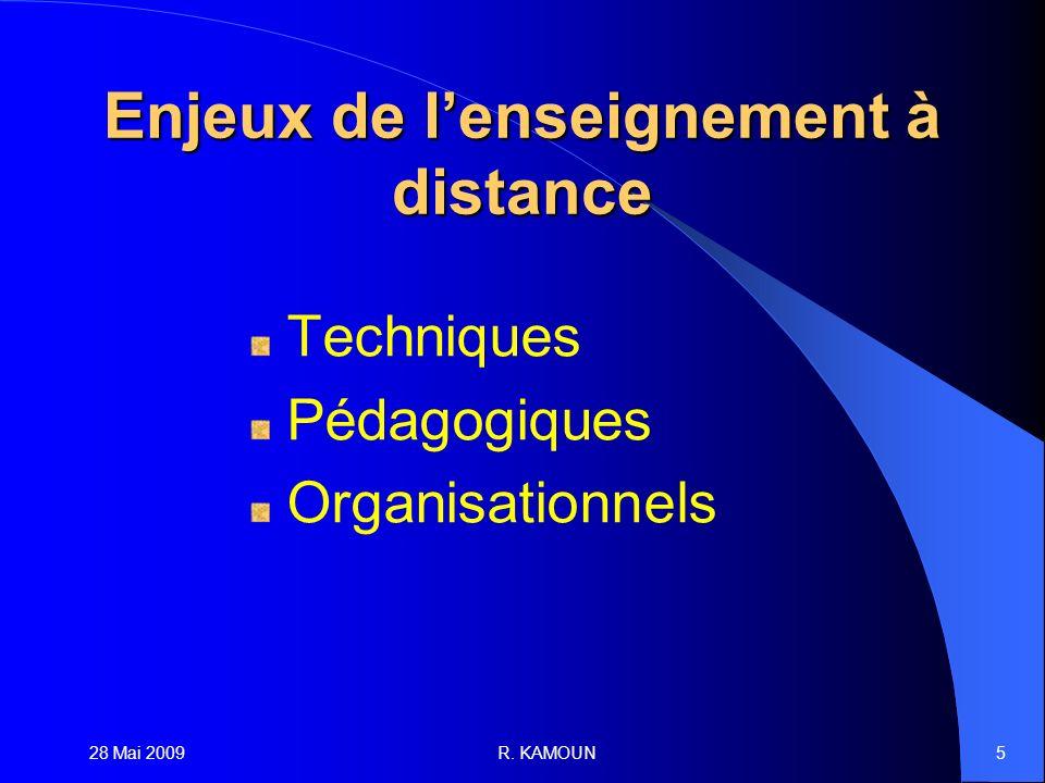 28 Mai 2009R. KAMOUN5 Enjeux de lenseignement à distance Techniques Pédagogiques Organisationnels