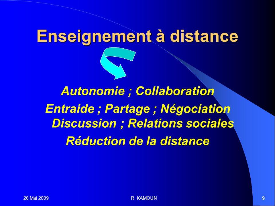 28 Mai 2009R. KAMOUN9 Enseignement à distance Autonomie ; Collaboration Entraide ; Partage ; Négociation Discussion ; Relations sociales Réduction de