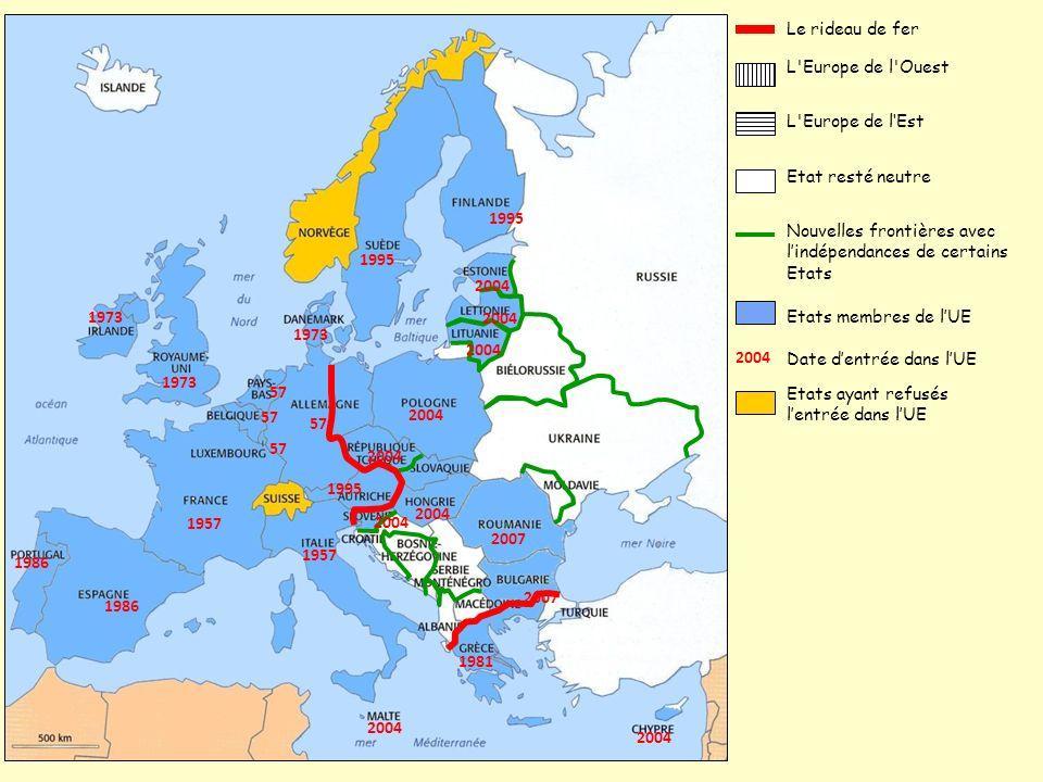 L'Europe de l'Ouest Le rideau de fer L'Europe de lEst Etat resté neutre Nouvelles frontières avec lindépendances de certains Etats Etats ayant refusés