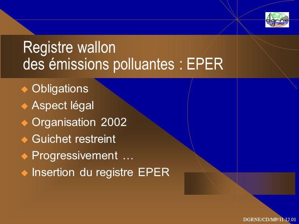 OBLIGATIONS Juin 2003 : 1er rapport EPER à la Commission européenne sur base des données 2001 juin 2006 : 2ème rapport EPER - données 2004 A partir de 2008 (année T) : rapport annuel en décembre T sur les données T-1 Convention d AARHUS : 1er rapport PRTR en 2008 DGRNE/CD/MP/11.12.01