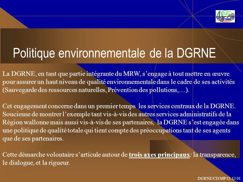 Politique environnementale de la DGRNE La DGRNE, en tant que partie intégrante du MRW, sengage à tout mettre en œuvre pour assurer un haut niveau de qualité environnementale dans le cadre de ses activités (Sauvegarde des ressources naturelles, Prévention des pollutions,…).