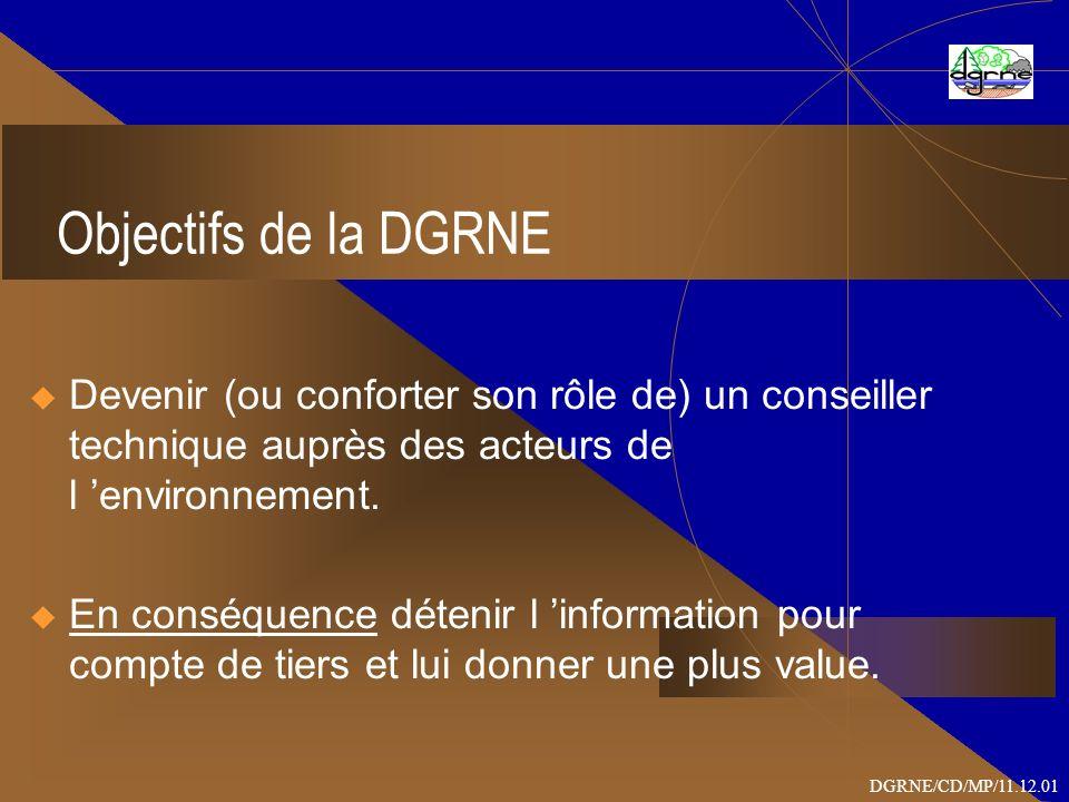 Objectifs de la DGRNE Devenir (ou conforter son rôle de) un conseiller technique auprès des acteurs de l environnement.