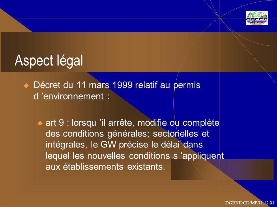 Aspect légal Décret du 11 mars 1999 relatif au permis d environnement : u art 9 : lorsqu il arrête, modifie ou complète des conditions générales; sectorielles et intégrales, le GW précise le délai dans lequel les nouvelles conditions s appliquent aux établissements existants.