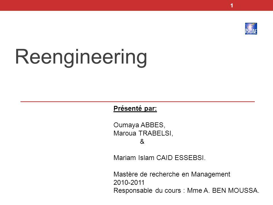 1 Reengineering Présenté par: Oumaya ABBES, Maroua TRABELSI, & Mariam Islam CAID ESSEBSI. Mastère de recherche en Management 2010-2011 Responsable du