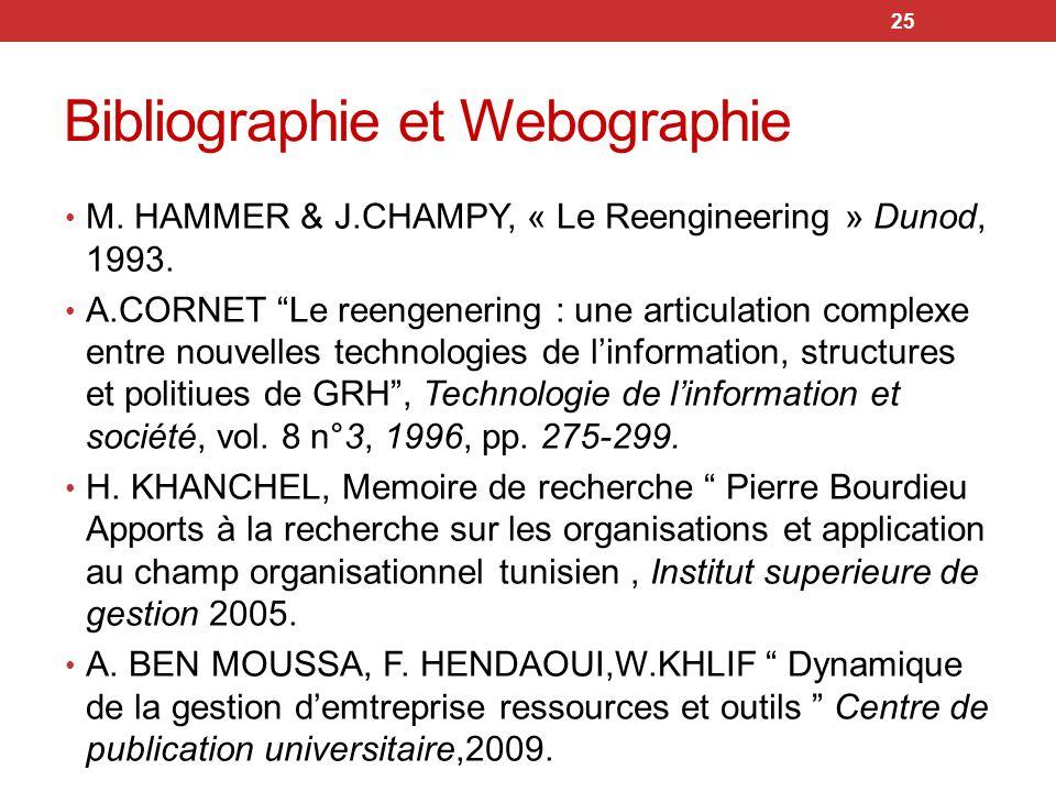 Bibliographie et Webographie 25 M. HAMMER & J.CHAMPY, « Le Reengineering » Dunod, 1993. A.CORNET Le reengenering : une articulation complexe entre nou
