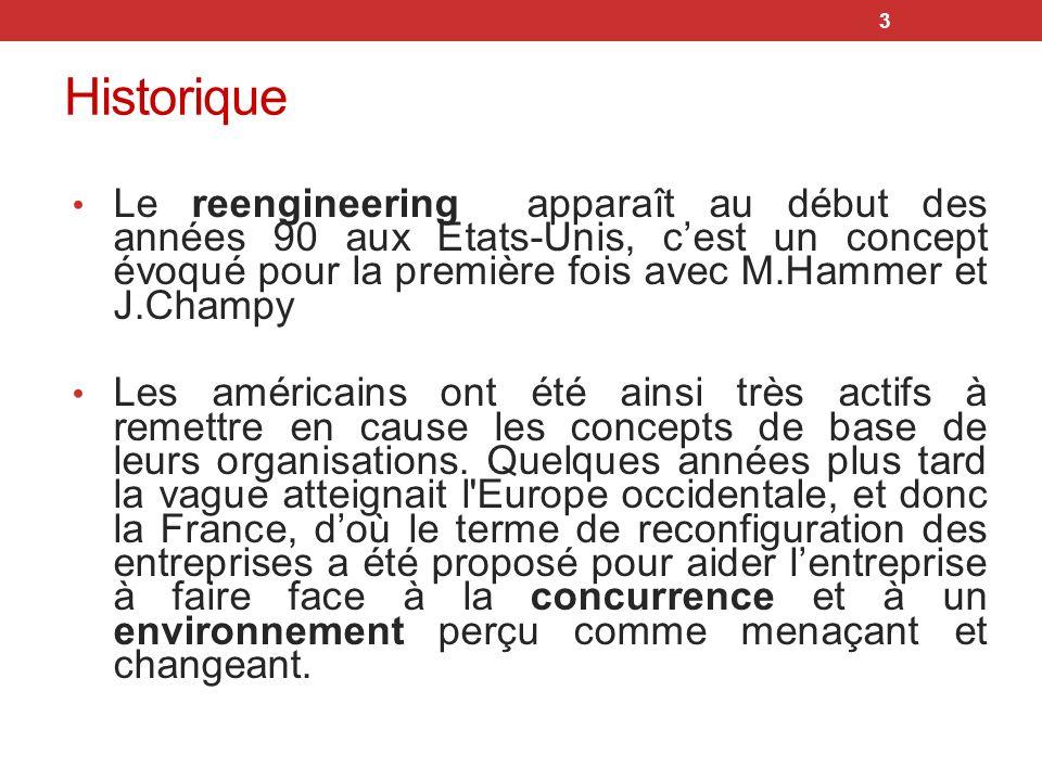 4 Définitions Une démarche scientifique ou de management qui consiste a revoir totalement le mode de fonctionnement de lentreprise et de ses processus Franck Debouck, ingénieur Air France Source: CONFERENCE, Le reengineering : comment passer d un domaine à l autre .