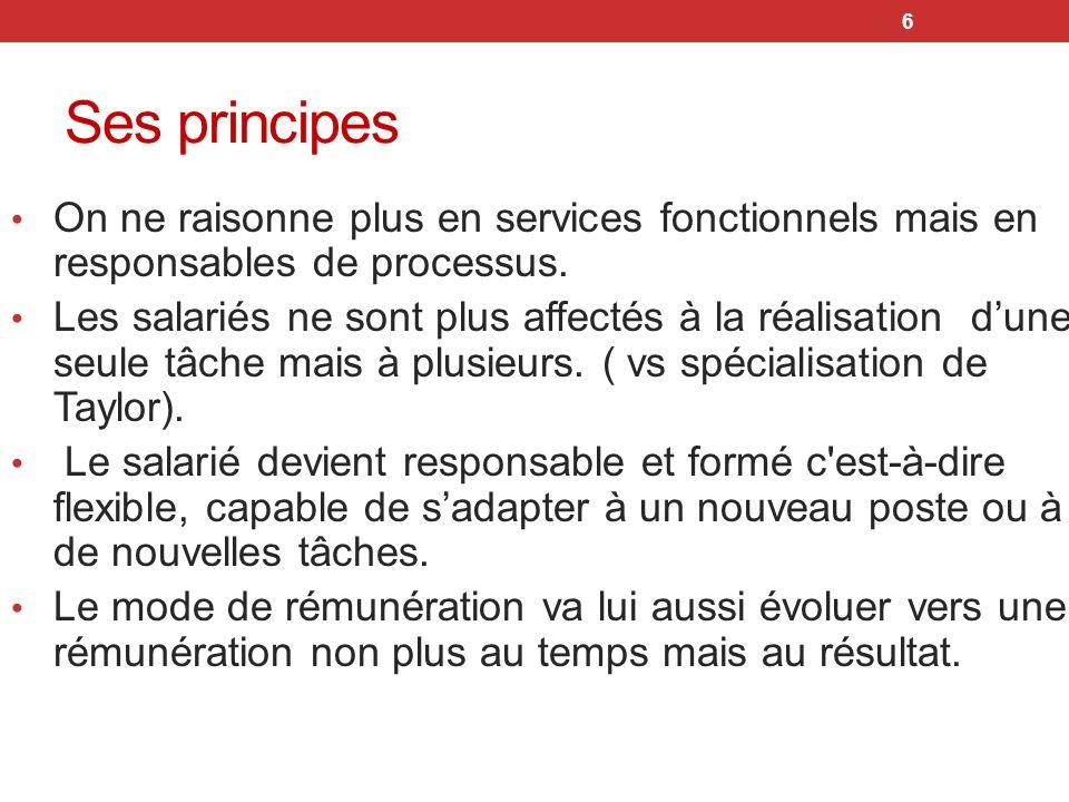 6 Ses principes On ne raisonne plus en services fonctionnels mais en responsables de processus. Les salariés ne sont plus affectés à la réalisation du
