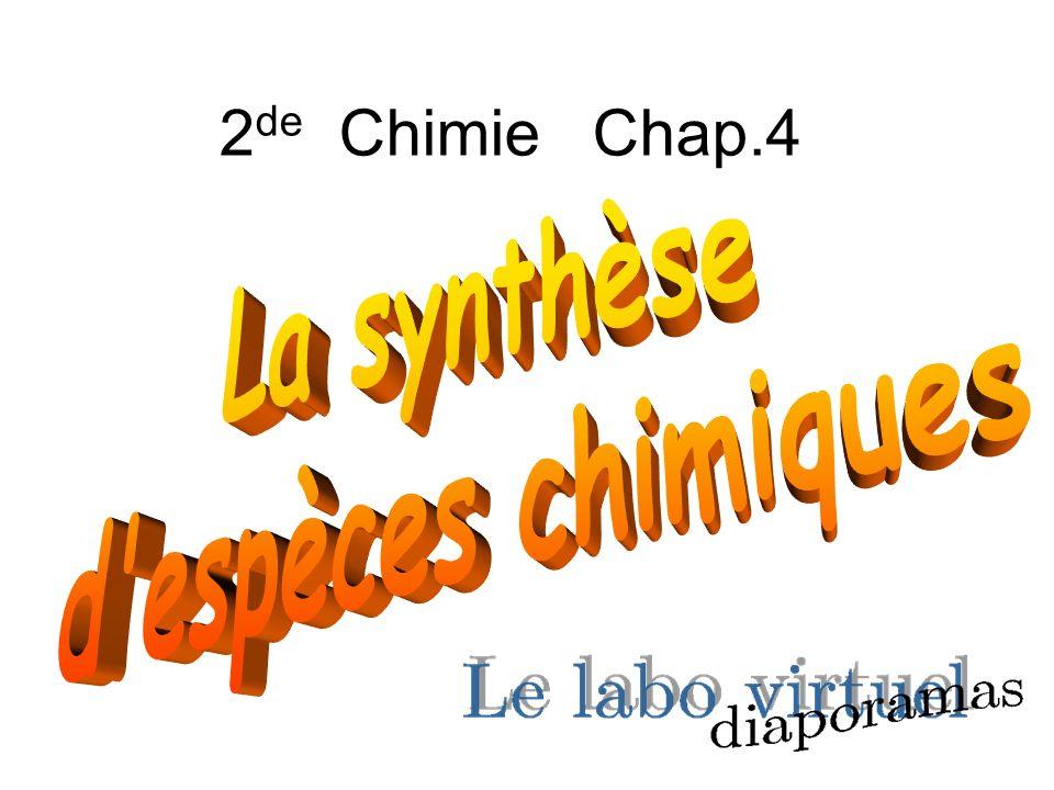 La synthèse chimique est une transformation permettant dobtenir de nouvelles espèces chimiques à partir de matières premières.