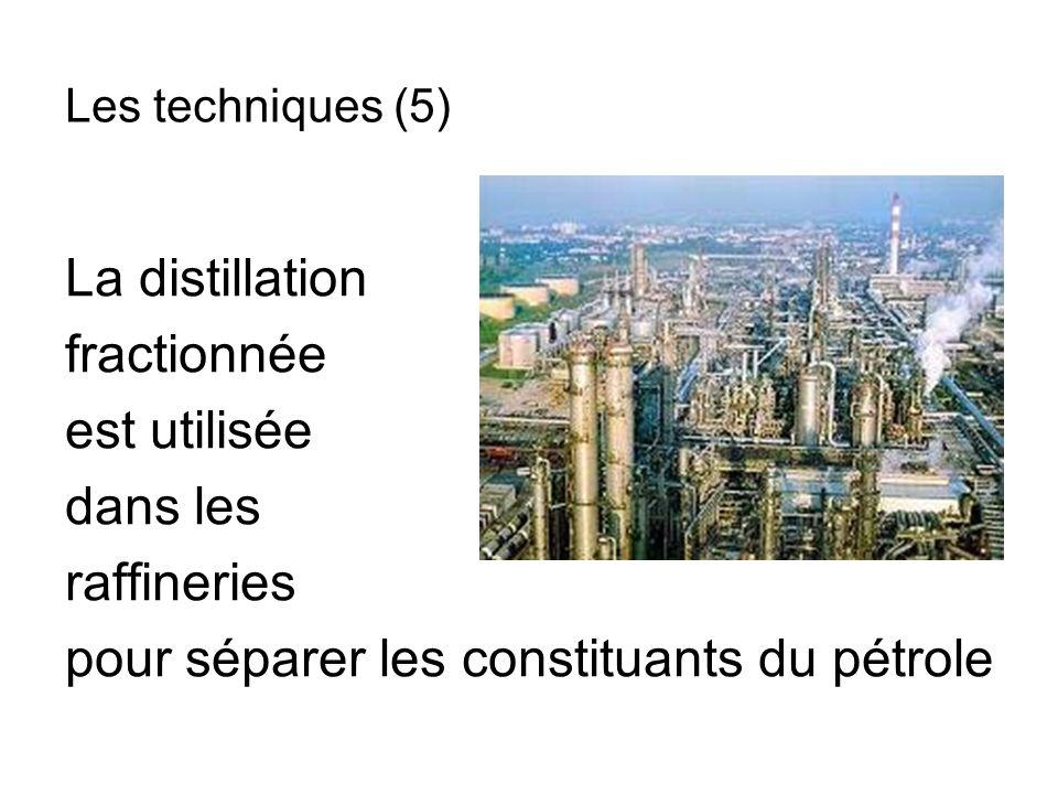 La distillation fractionnée est utilisée dans les raffineries pour séparer les constituants du pétrole Les techniques (5)
