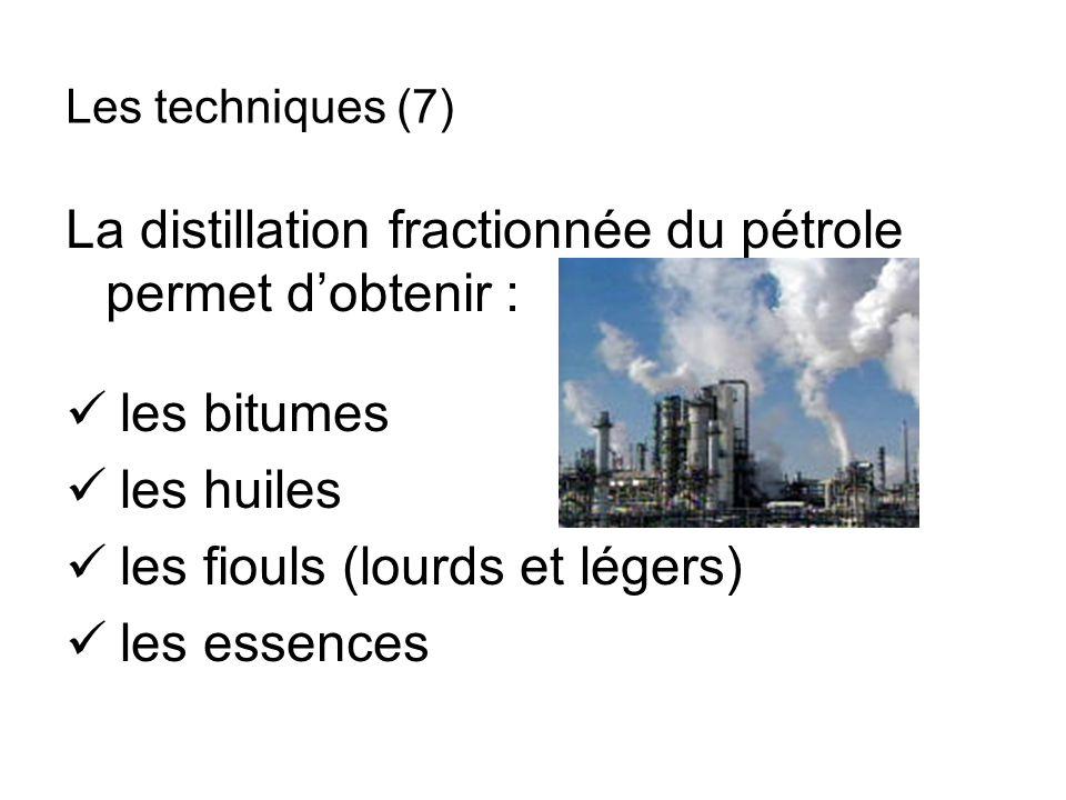 La distillation fractionnée du pétrole permet dobtenir : les bitumes les huiles les fiouls (lourds et légers) les essences Les techniques (7)