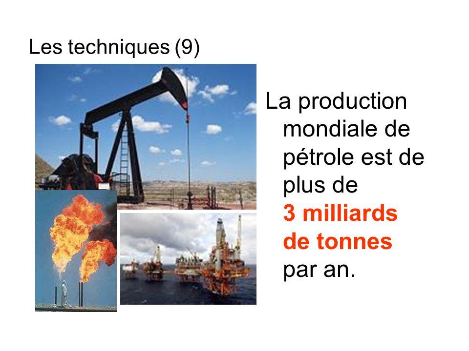 La production mondiale de pétrole est de plus de 3 milliards de tonnes par an. Les techniques (9)