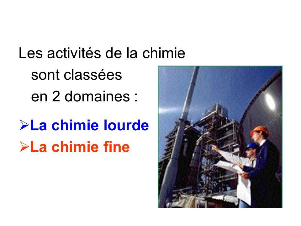 Les activités de la chimie sont classées en 2 domaines : La chimie lourde La chimie fine