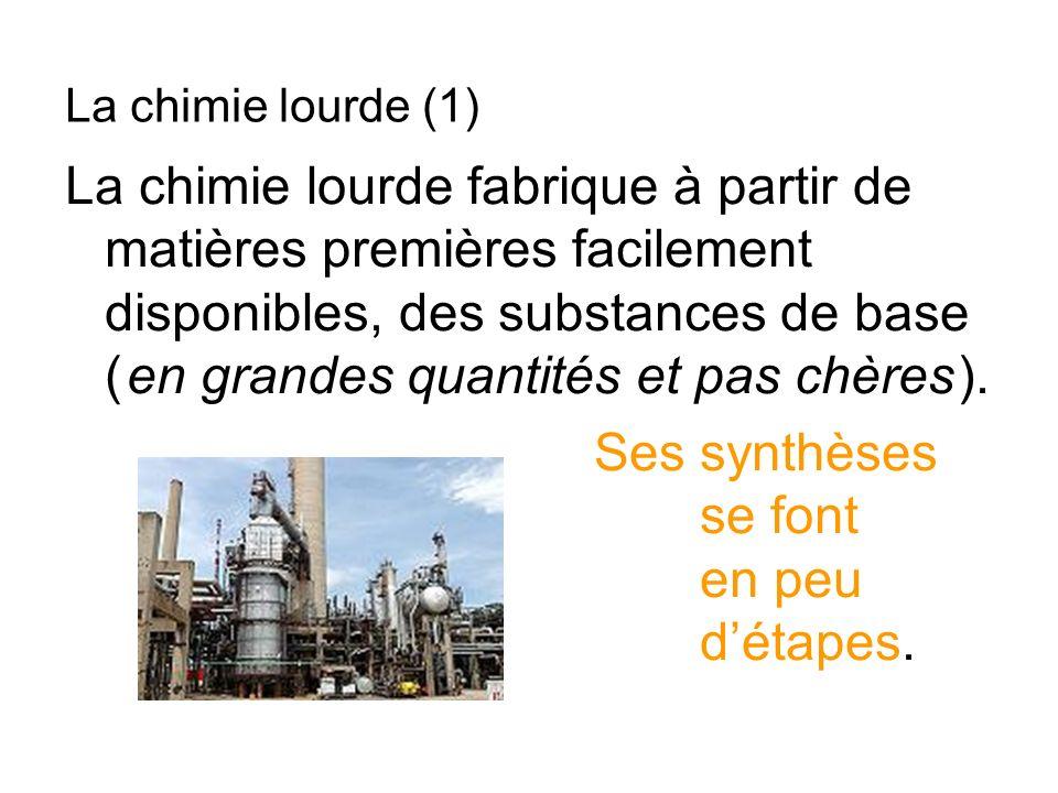 La chimie lourde fabrique à partir de matières premières facilement disponibles, des substances de base ( en grandes quantités et pas chères ). Ses sy