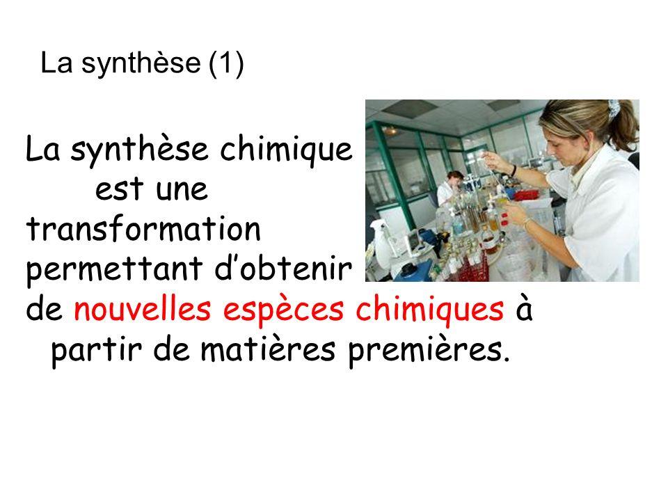 La synthèse chimique est une transformation permettant dobtenir de nouvelles espèces chimiques à partir de matières premières. La synthèse (1)