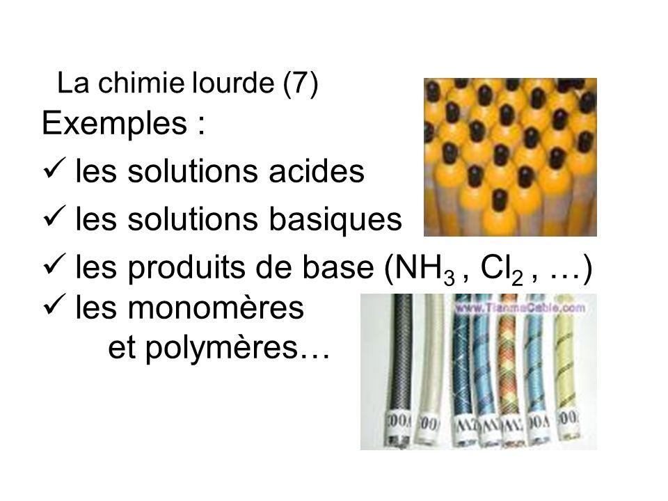 Exemples : les solutions acides les solutions basiques les produits de base (NH 3, Cl 2, …) les monomères et polymères… La chimie lourde (7)