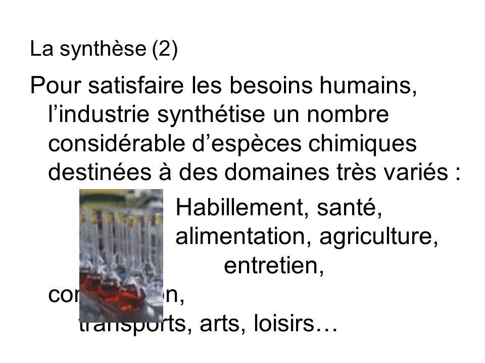 Exemple : la fabrication des parfums La chimie fine (5)
