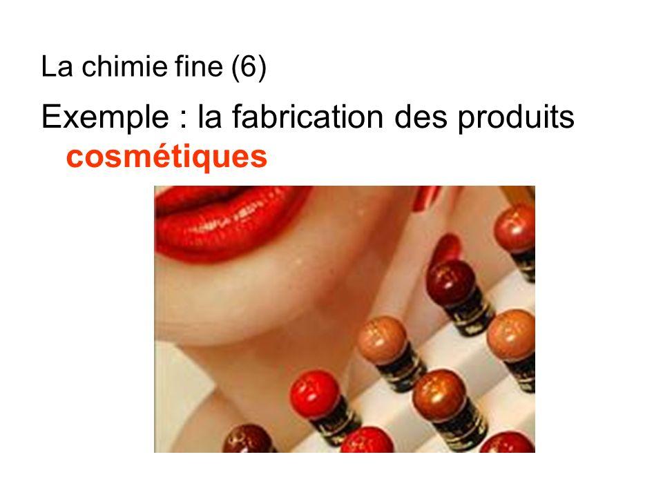 Exemple : la fabrication des produits cosmétiques La chimie fine (6)