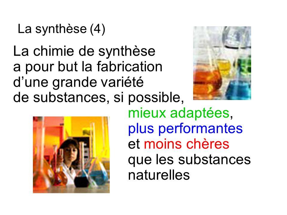 La chimie de synthèse a pour but la fabrication dune grande variété de substances, si possible, mieux adaptées, plus performantes et moins chères que