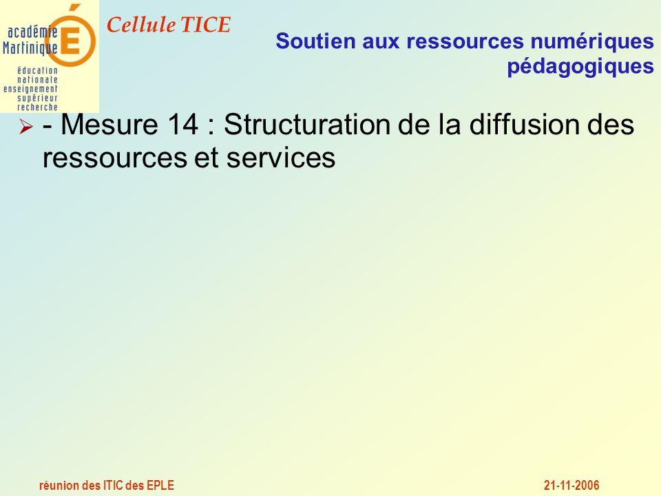 réunion des ITIC des EPLE Cellule TICE 21-11-2006 Soutien aux ressources numériques pédagogiques - Mesure 14 : Structuration de la diffusion des ressources et services