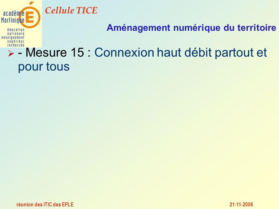 réunion des ITIC des EPLE Cellule TICE 21-11-2006 Aménagement numérique du territoire - Mesure 15 : Connexion haut débit partout et pour tous