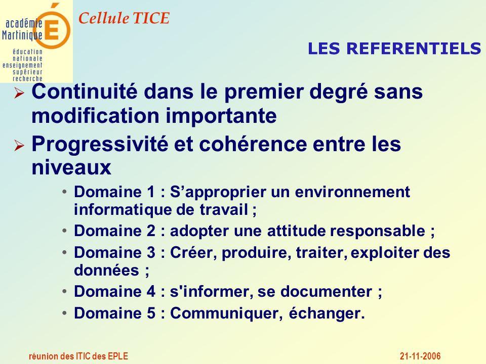 réunion des ITIC des EPLE Cellule TICE 21-11-2006 LES REFERENTIELS Continuité dans le premier degré sans modification importante Progressivité et cohérence entre les niveaux Domaine 1 : Sapproprier un environnement informatique de travail ; Domaine 2 : adopter une attitude responsable ; Domaine 3 : Créer, produire, traiter, exploiter des données ; Domaine 4 : s informer, se documenter ; Domaine 5 : Communiquer, échanger.