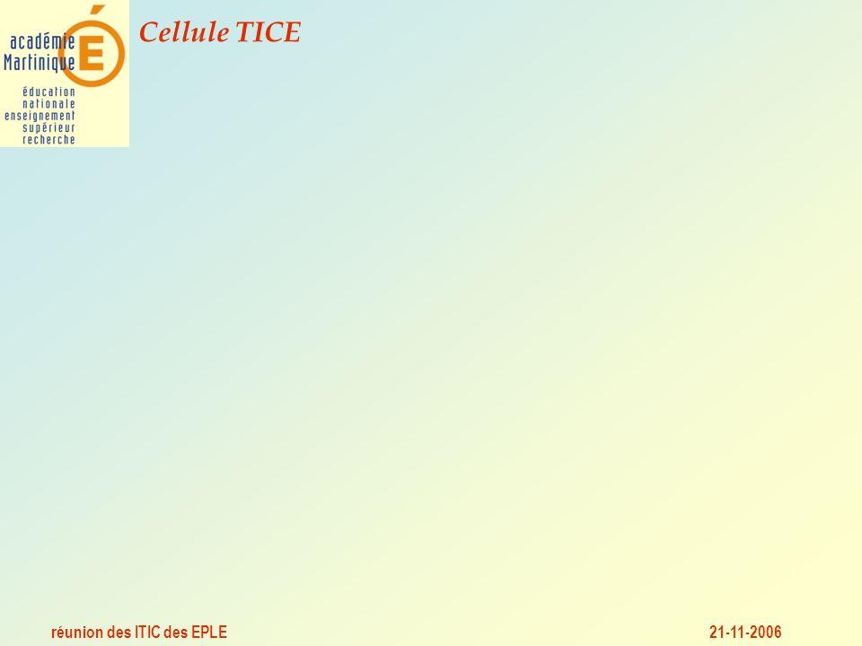 réunion des ITIC des EPLE Cellule TICE 21-11-2006