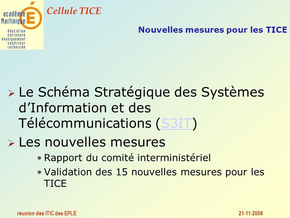 réunion des ITIC des EPLE Cellule TICE 21-11-2006 Nouvelles mesures pour les TICE Le Schéma Stratégique des Systèmes dInformation et des Télécommunications (S3IT)S3IT Les nouvelles mesures Rapport du comité interministériel Validation des 15 nouvelles mesures pour les TICE