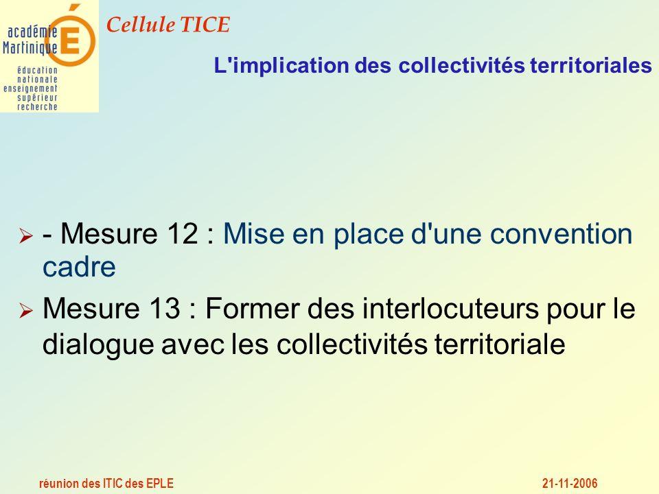 réunion des ITIC des EPLE Cellule TICE 21-11-2006 L implication des collectivités territoriales - Mesure 12 : Mise en place d une convention cadre Mesure 13 : Former des interlocuteurs pour le dialogue avec les collectivités territoriale