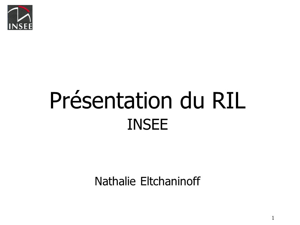 1 Présentation du RIL INSEE Nathalie Eltchaninoff