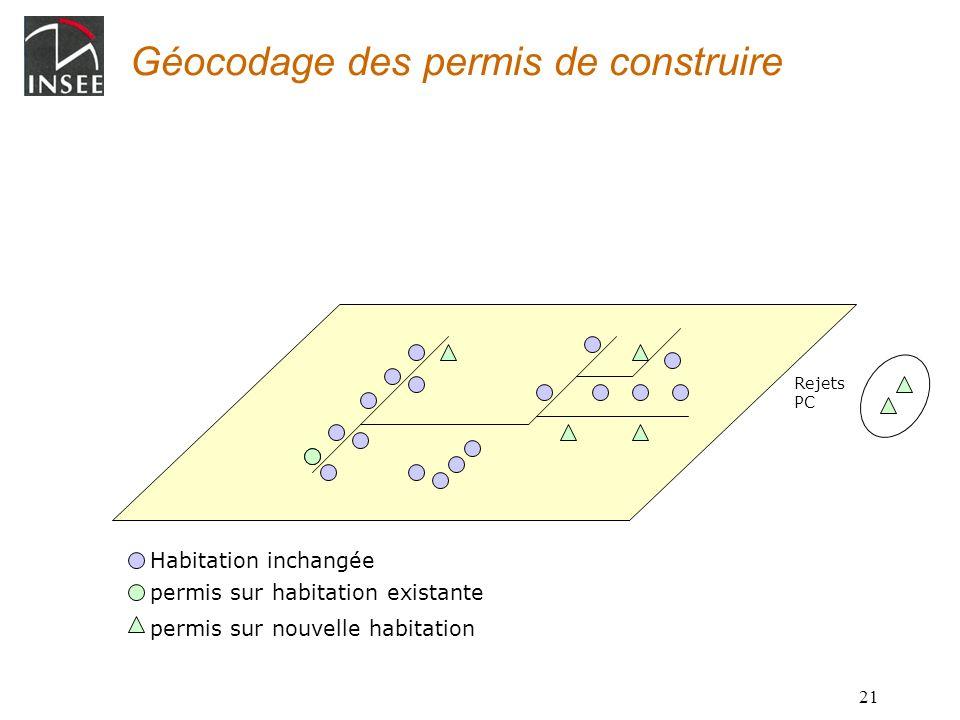 21 Géocodage des permis de construire Habitation inchangée permis sur nouvelle habitation permis sur habitation existante Rejets PC