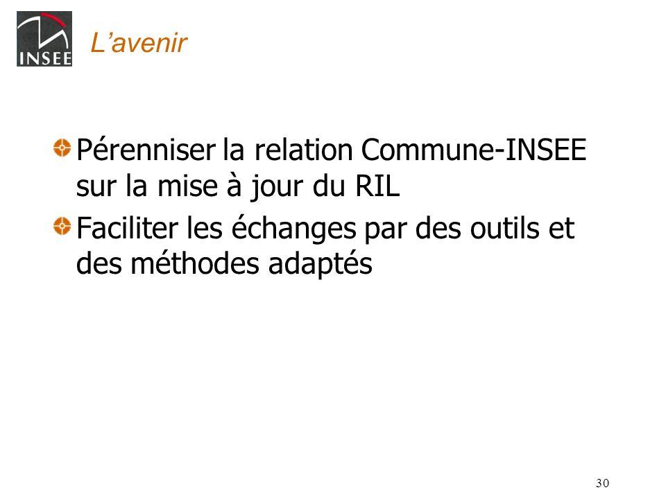 30 Lavenir Pérenniser la relation Commune-INSEE sur la mise à jour du RIL Faciliter les échanges par des outils et des méthodes adaptés