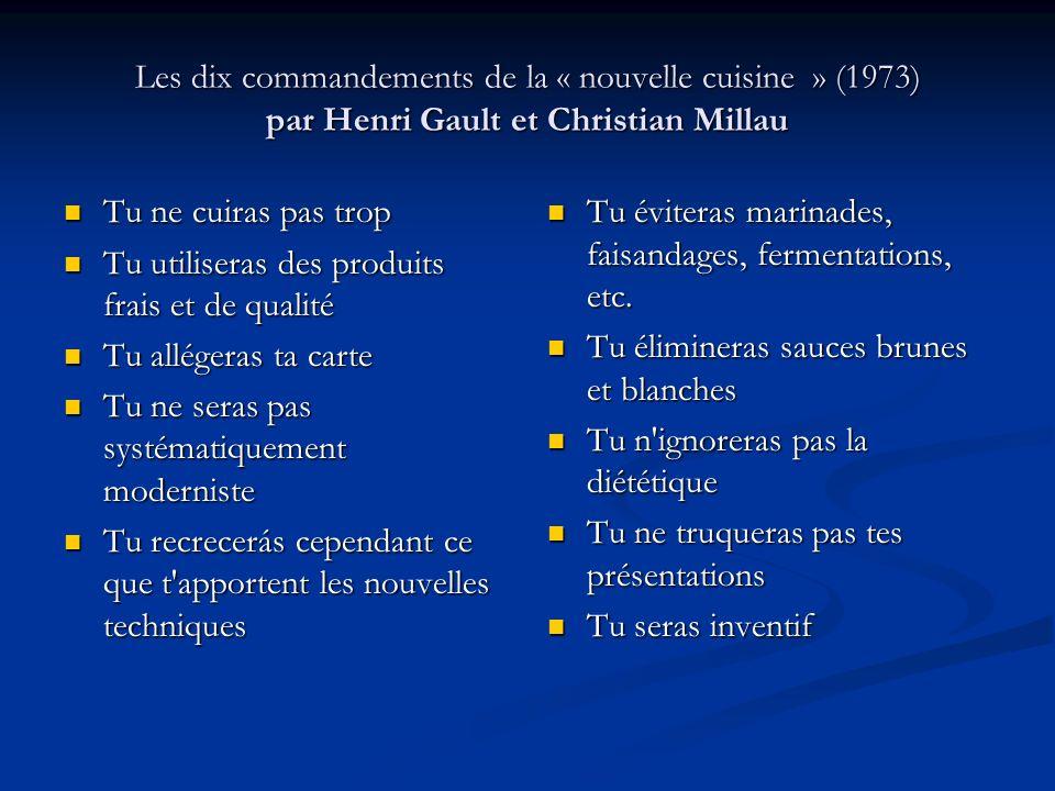 Les dix commandements de la « nouvelle cuisine » (1973) par Henri Gault et Christian Millau Tu ne cuiras pas trop Tu ne cuiras pas trop Tu utiliseras