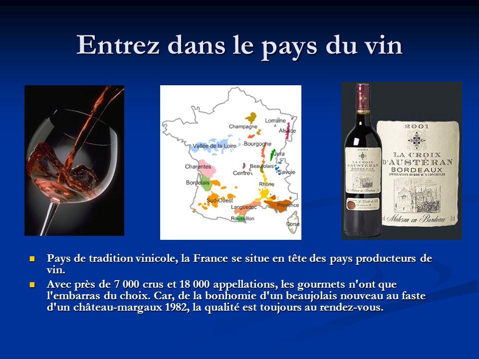 Entrez dans le pays du vin Pays de tradition vinicole, la France se situe en tête des pays producteurs de vin. Avec près de 7 000 crus et 18 000 appel
