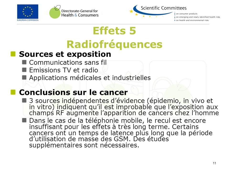 11 Effets 5 Radiofréquences Sources et exposition Communications sans fil Emissions TV et radio Applications médicales et industrielles Conclusions su