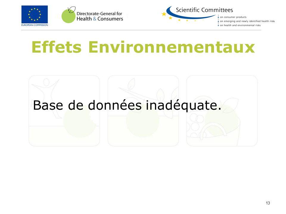 13 Effets Environnementaux Base de données inadéquate.