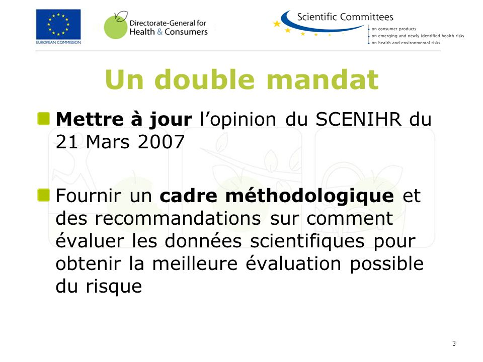 3 Un double mandat Mettre à jour lopinion du SCENIHR du 21 Mars 2007 Fournir un cadre méthodologique et des recommandations sur comment évaluer les do