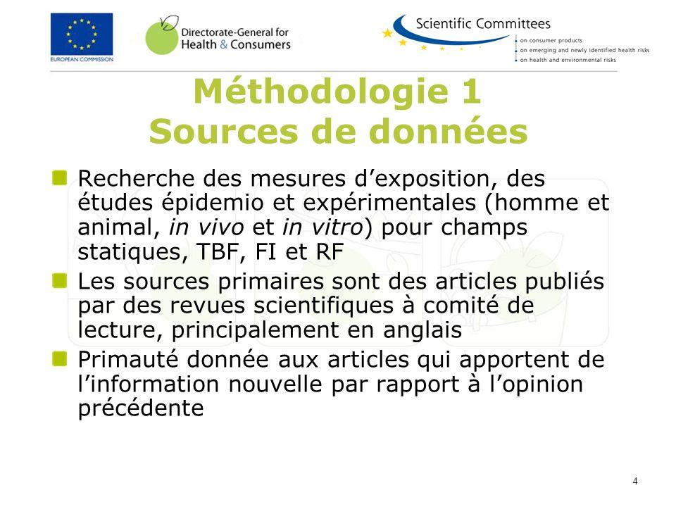 4 Méthodologie 1 Sources de données Recherche des mesures dexposition, des études épidemio et expérimentales (homme et animal, in vivo et in vitro) po